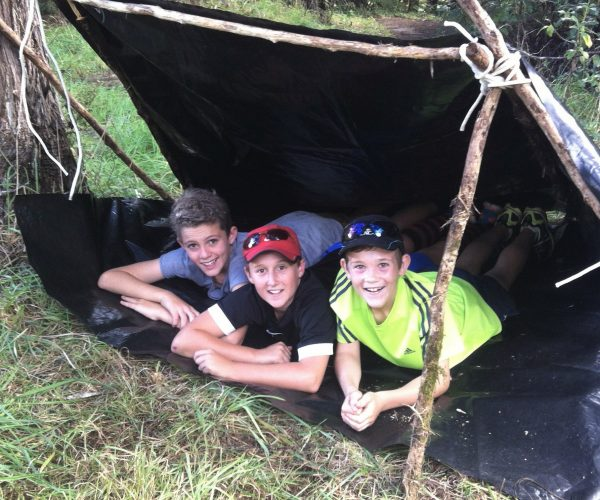 Bush Bivvy built in native forest as part of William Pike Challenge