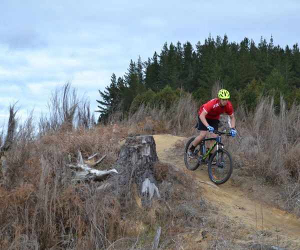 participant mountain bikes down and around some features at Craters mountain Bike park