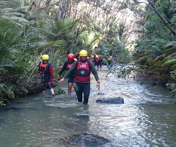 Group of students and instructor walk through a stream in the waitakere regional park